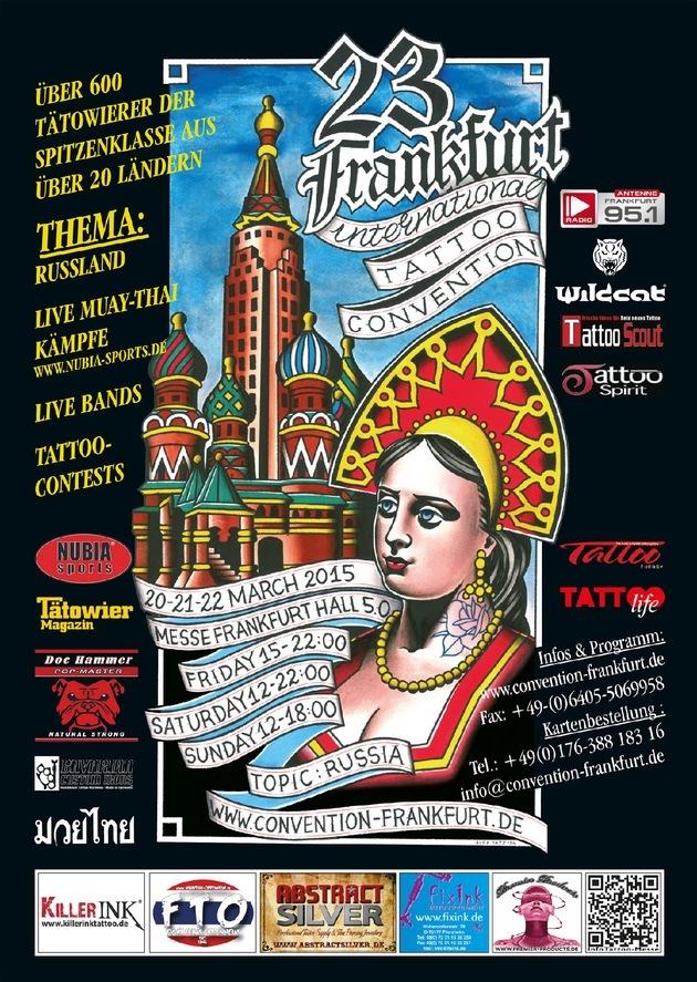 in 23. Internationale Tattoo Convention Frankfurt 2015 unter dem Motto Russland & Künstler aus Ost-Europa / Über 600 Tätowierer werden zur 23. Ausgabe der weltgrößten Tattoo-Messe erwartet (FOTO)