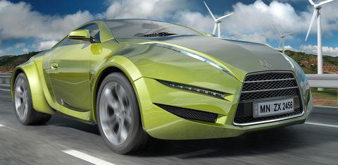 Green-concept-car in Zeitalter der Elektroautos bei der LA Auto Show