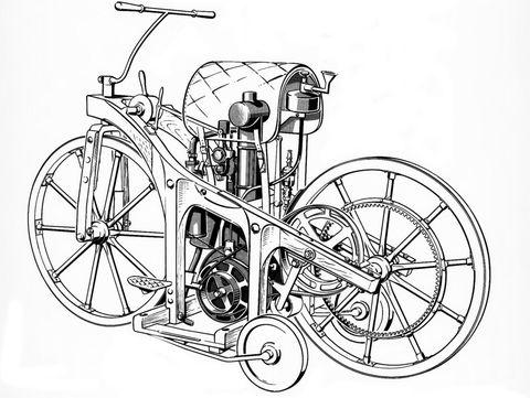Daimler-Reitwagen-von-1885-2 in Vor 125 Jahren: Daimler Reitwagen fährt